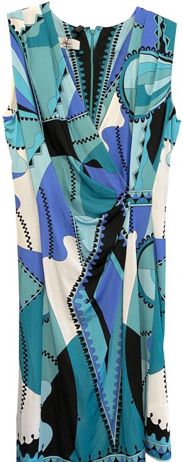 Item - Blue Multi Color Floral Print Sleeveless Mid-length Short Casual Dress Size 8 (M)
