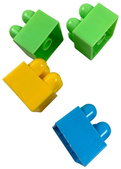 Item - Green/Blue 4 Pc Small Stack Colorful Legos