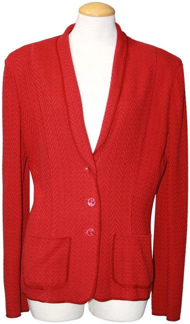 Item - Red Cotton Blend Sweater 14/16 Cardigan Size 14 (L)