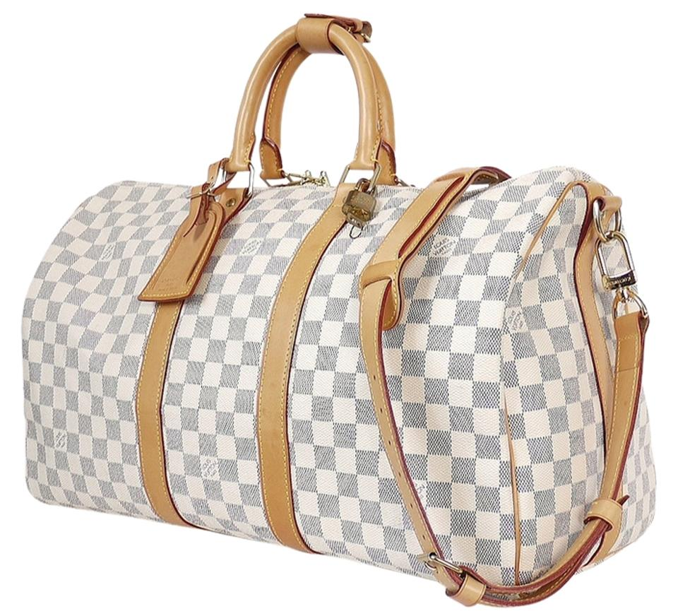 Louis Vuitton Keepall Bandoulire 45 White Damier Azur Weekend Travel ... 5675ff894400e