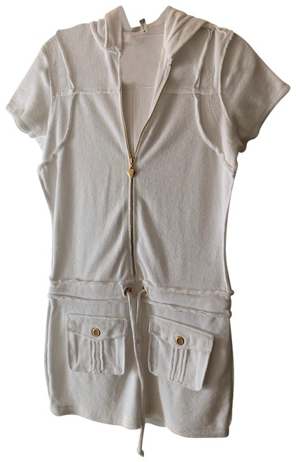 Item - White Terry Dress Zipper In The Front and Pulls At The Waist Cover-up/Sarong Size 8 (M)