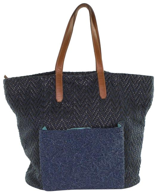 Item - Anthro Large with Coin Purse Blue Cotton-blend Tote