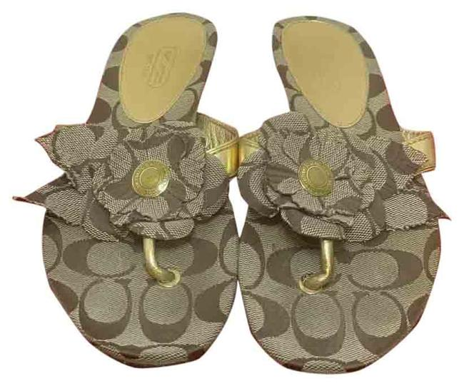 Item - Beige Brown and Gold Accent Thong Sandals Size US 6.5 Regular (M, B)