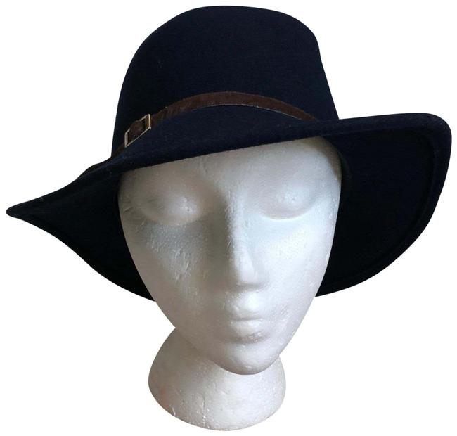 Item - Blue Wool Pony Hair Belted Hat