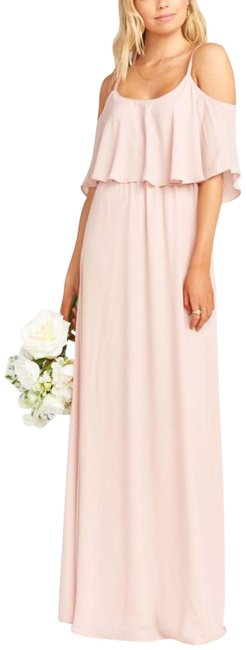 Item - Dusty Blush Crisp Caitlin Ruffle Long Casual Maxi Dress Size 8 (M)