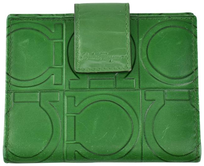"Item - Emerald Green Leather ""Gancini"" Logo Card (Nm) Wallet"
