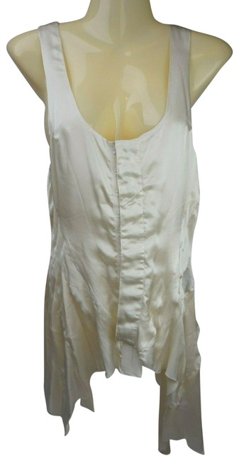 Item - Ivory Silk Sleeveless Clasp Front Women's Tank Top/Cami Size 12 (L)