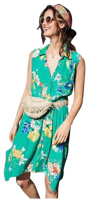Item - Green Maeve Floral Rory Shirtdress Nwot Mid-length Short Casual Dress Size 4 (S)