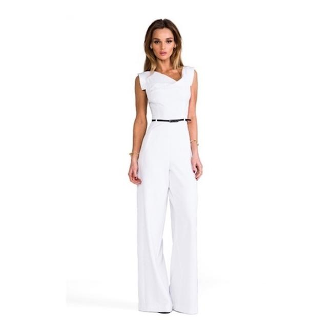 Item - White Jackie O Cap-sleeve Belted Wide-leg Size 8 Romper/Jumpsuit