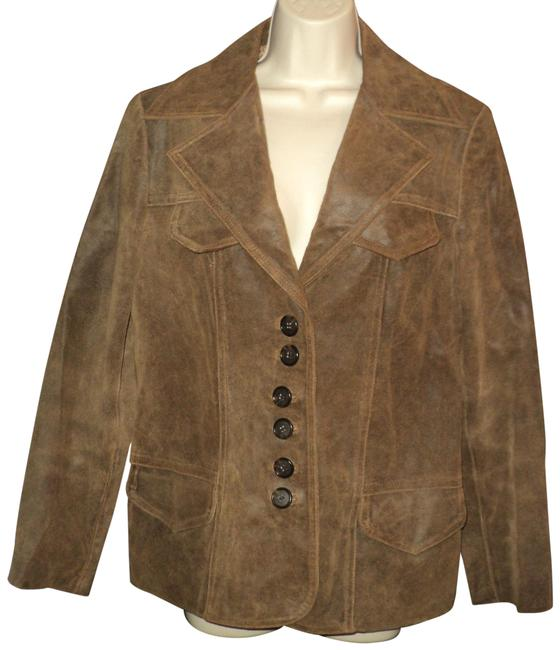 Item - Brown Distressed Front Buttoned Notched Collar Lined Jacket Size 14 (L)