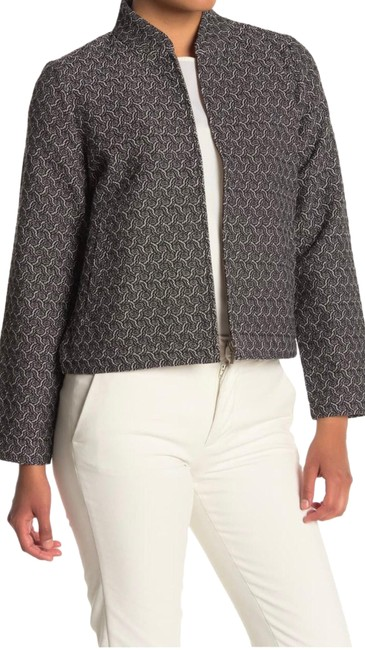 Item - Black Grey Geometric Texture Flight Jacquard Jacket Size 12 (L)