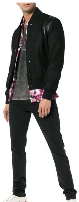 Item - Black Teddy Leather Trimmed Wool Bomber Jacket Size 8 (M)