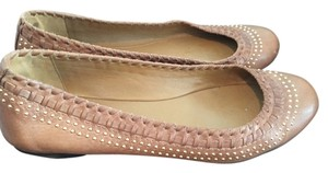 Gucci Designer Ballet Stud Woven Brown Nude Neutral Tan Flats