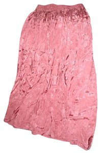 M.J. Carroll Embossed Satin Rosebud Long Gypsy Hippie Maxi Skirt Pink
