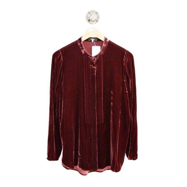 Theory Red Tunic Luxe Velvet #126-131 Blouse Size 8 (M) Theory Red Tunic Luxe Velvet #126-131 Blouse Size 8 (M) Image 1