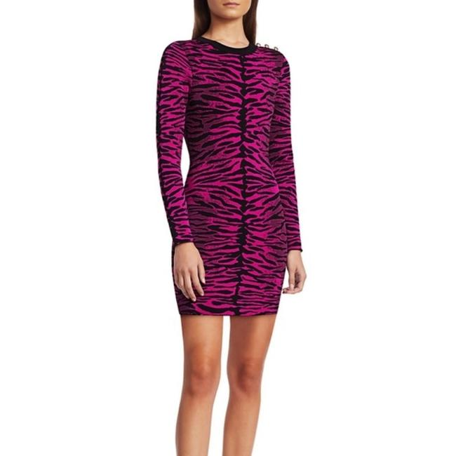 Item - Pink Tiger Print Knitted Bodycon Black Mid-length Night Out Dress Size 4 (S)