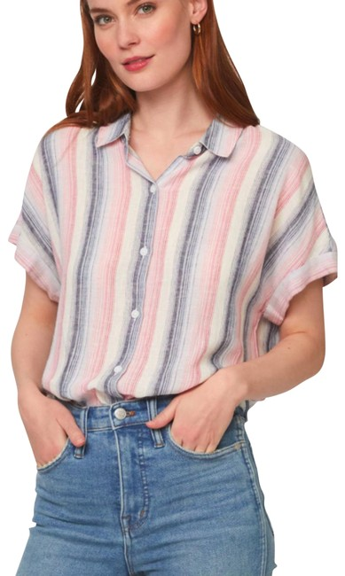 Item - White Spencer Naughty Striped S/P M Blouse Size 4 (S)