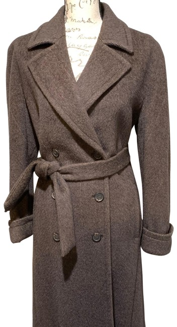Item - Brown Alpaca Double Breasted Coat Size 8 (M)