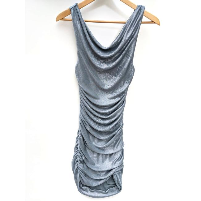Item - Gray Ruched Shimmery Bodycon Short Cocktail Dress Size 2 (XS)
