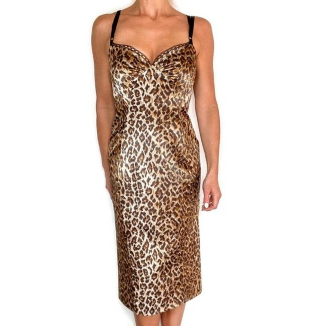 Item - Brown Tan Animal Cheetah Leopard Printed Midi Mid-length Cocktail Dress Size 6 (S)