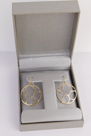 Zales Contemporary Circle Diamond Accent Earrings in Yellow Gold 14K