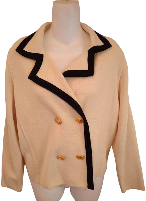 Item - White and Black Vintage Paris Double Breasted Cardigan Size 14 (L)