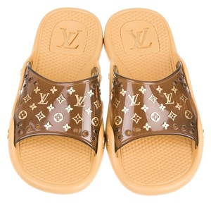 Louis Vuitton Tan Yellow Beige Pvc Lv Brown Sandals