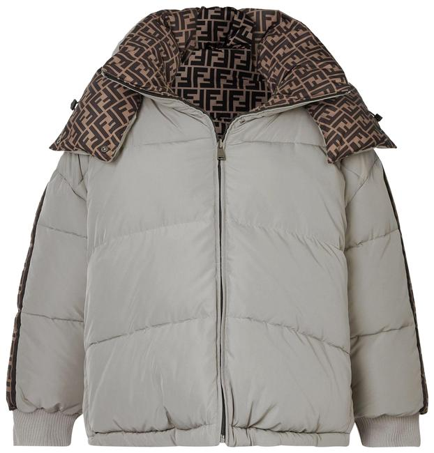 Item - Light Gray Reversible Hooded Printed Quilted Shell Down Jacket Coat Size 12 (L)