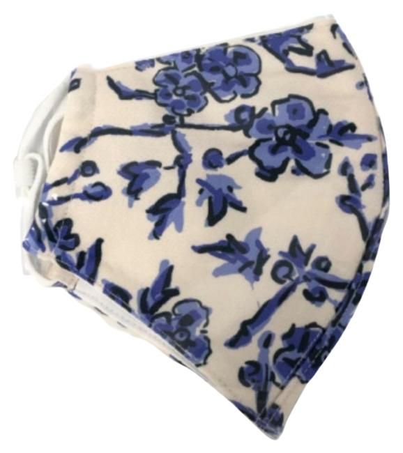 Item - White Blue Floral Washable Reusable Polyester Face Mask Protector