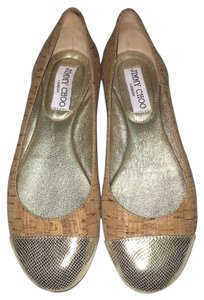 Jimmy Choo Cork Leather Metallic Gold Flats
