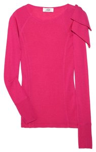 Tibi Bow Pink Bright Wool Fun Holiday Day To Night Long Sleeve Sweater