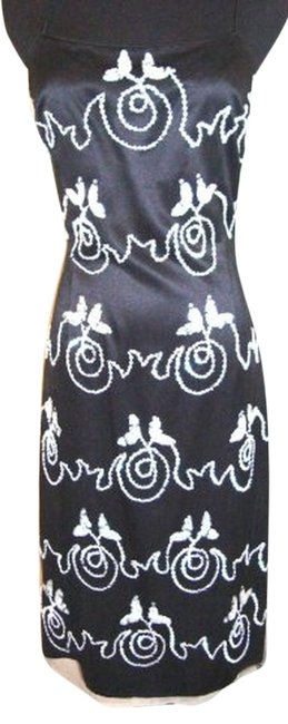 Item - Black/White Bead Last One In Stock By Shaw Scroll Wedding Knee Length Cocktail Dress Size 4 (S)