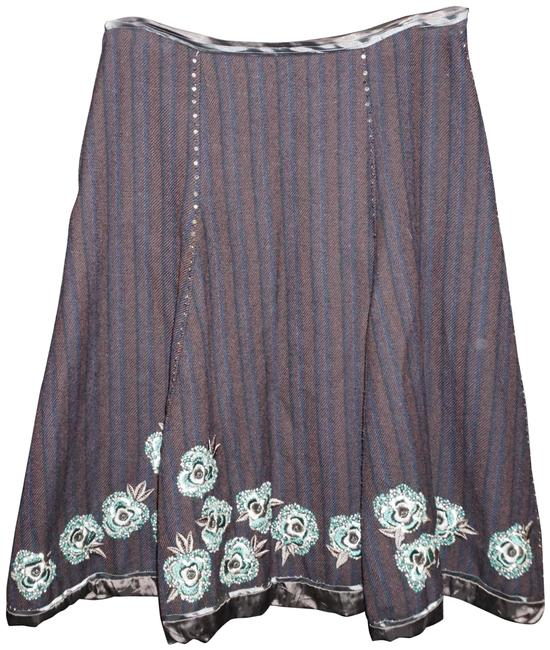 Item - Brown Black Floral Embroidered Full Skirt Size 6 (S, 28)