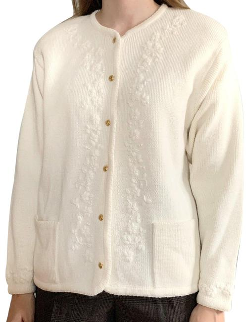 American Vintage White Embroidered Sweater Cardigan Size 8 (M) American Vintage White Embroidered Sweater Cardigan Size 8 (M) Image 1