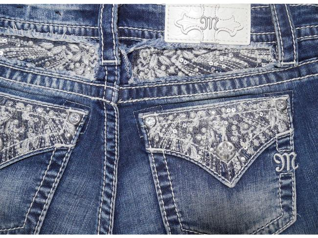 Item - Blue Medium Wash Signature Slim with Pearl & Sequin Embellish In Boot Cut Jeans Size 24 (0, XS)