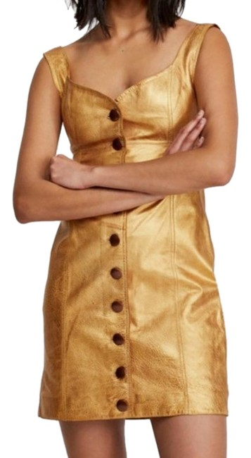 Item - Gold Goldie Mini Night Out Dress Size 8 (M)