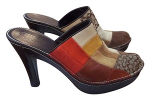 Coach Soft Suede Leather And Logo Fabric Multi, browns, red, black, gold Mules