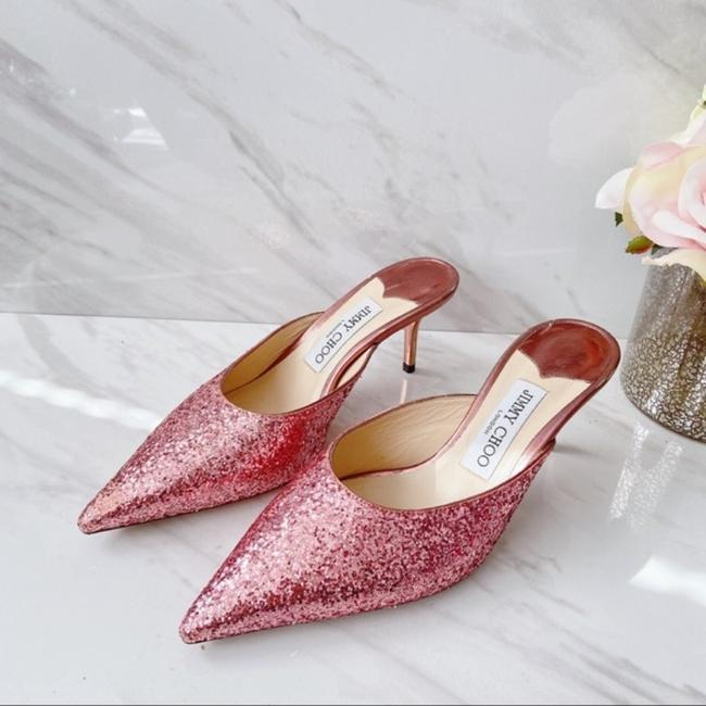 Item - Pink Rav 65 Pointed Toe Glitter Leather Mules/Slides Size US 10.5 Regular (M, B)