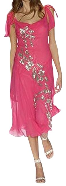 Item - Fuchsia/Silver Last One Bcbg Sequin Chiffon Open Back Midi Runway Mid-length Formal Dress Size 4 (S)