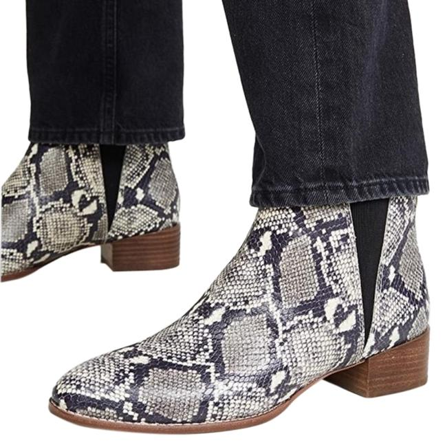 Item - Silver Black The Carina Snake Embossed Leather Boots/Booties Size US 8 Regular (M, B)
