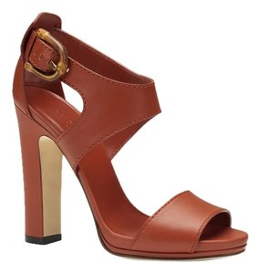 Gucci Leather Bamboo Italy Rust Sandals
