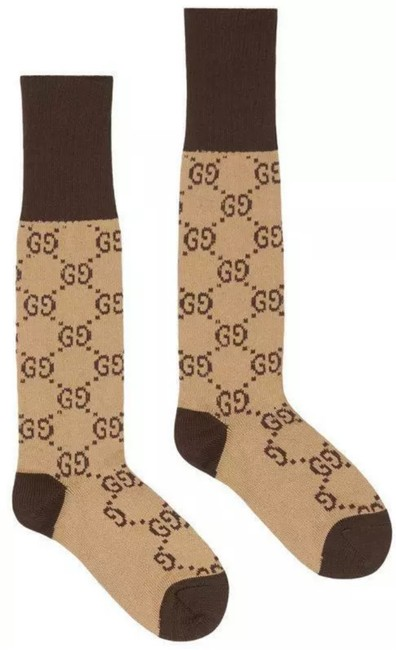 Item - Beige Brown New Ladies Current Gg Pattern Cotton Blend 8/Small Socks