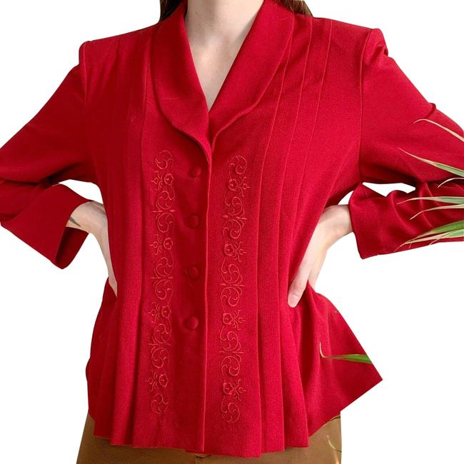Danny & Nicole Red Vintage Pleated Embroidered Blouse Size 14 (L) Danny & Nicole Red Vintage Pleated Embroidered Blouse Size 14 (L) Image 1
