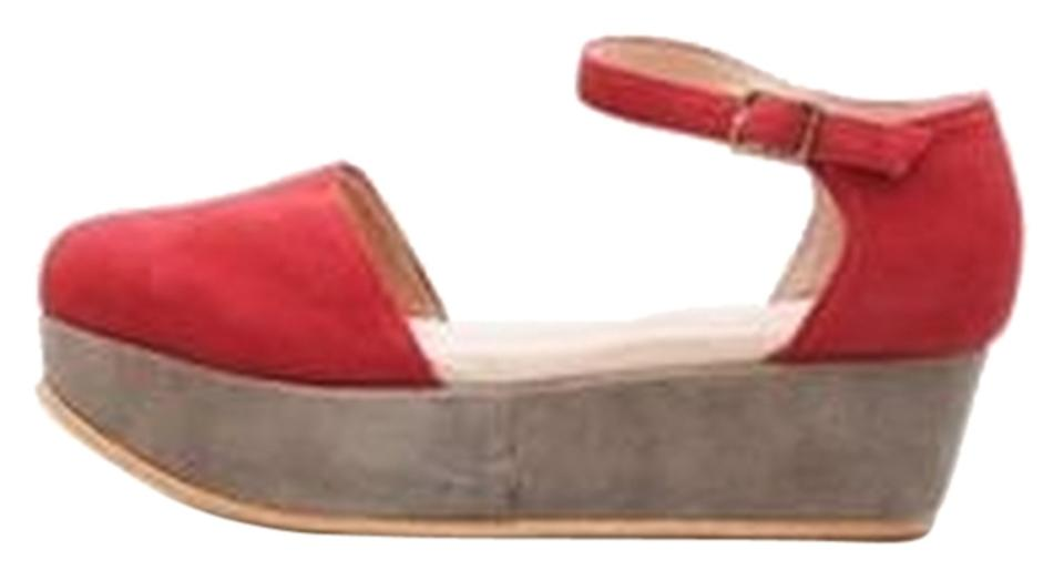 0ad44819227e Gee WaWa 70 s Color-blocking Spring Retro Suede Anthropologie Freepeople  Style Classic Red and Grey ...