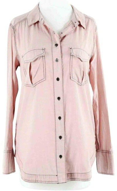 Item - Pink Black Cotton Button-down Top Size 0 (XS)
