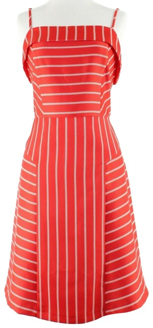 Item - Red White Lined Mid-length Short Casual Dress Size 8 (M)