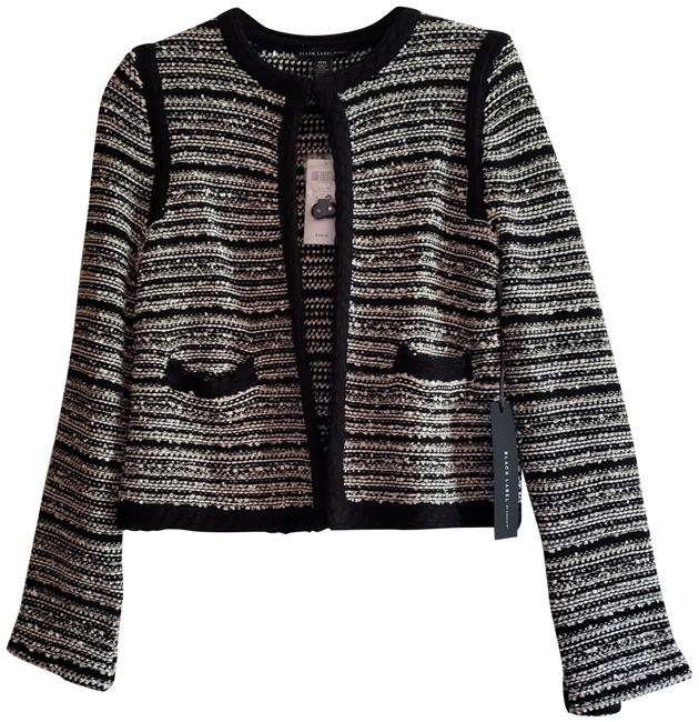 Chico's New Black Label Woven Elegant Trim Piping Detail Chanel Style Sweater Jacket Size 00 (XXS) Chico's New Black Label Woven Elegant Trim Piping Detail Chanel Style Sweater Jacket Size 00 (XXS) Image 1