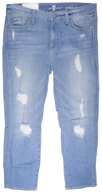 Item - Blue Distressed Ankle with Destroy In Melbourne Sky Straight Leg Jeans Size 29 (6, M)