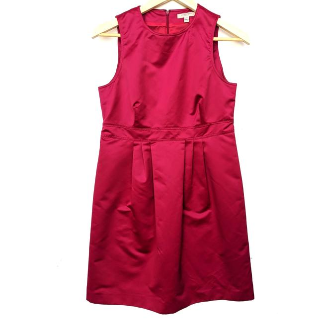 Item - Red Satin Pleated Sheath Cocktail Dress Size 6 (S)