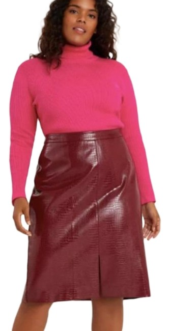 Item - Red Purple Maxine Faux Leather Pencil M Skirt Size 8 (M, 29, 30)